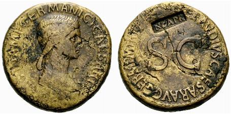 Contremarque sur une monnaie d'Agrippine l'Ancienne.