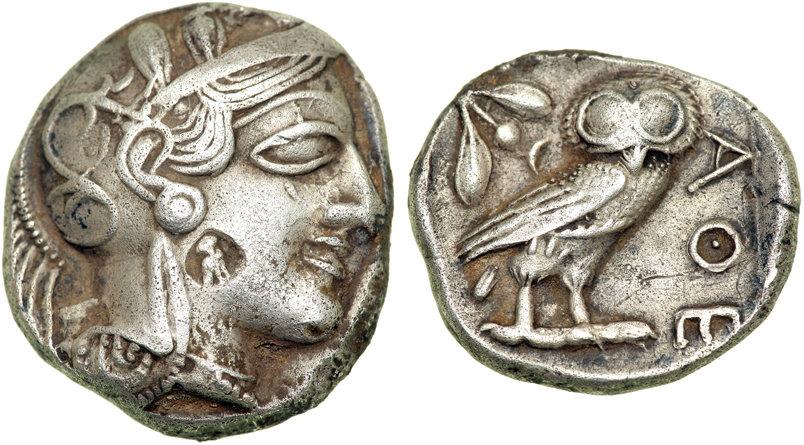 Contremarque sur une monnaie d'Athènes