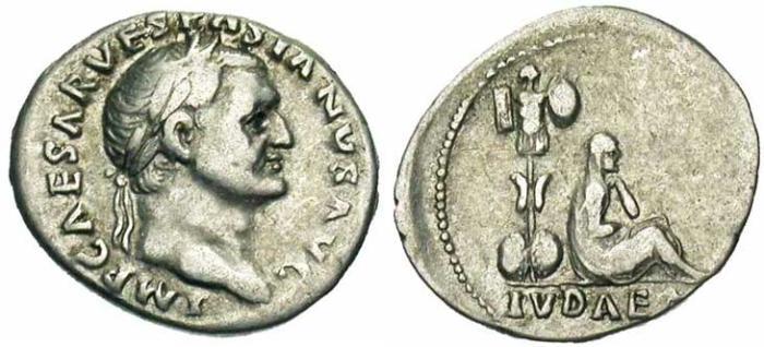 10 Denier de Vespasien Judée et trophée