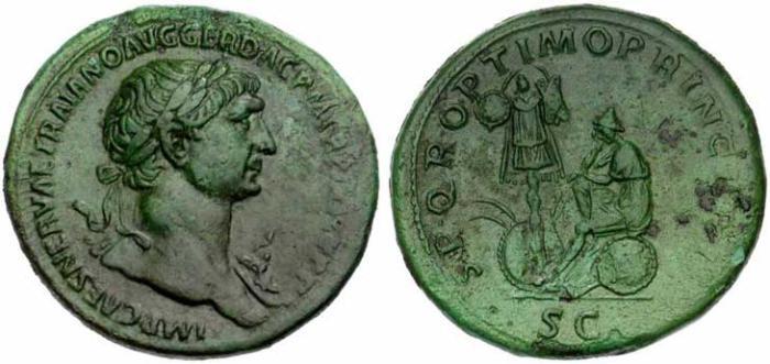 12 Sesterce de Trajan Dace et Trophée