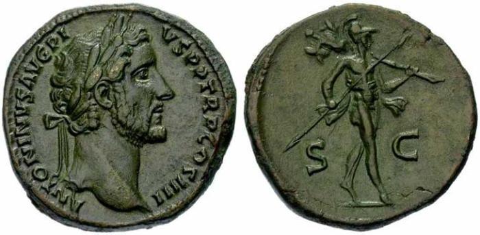 13 Sesterce d'Antonin le Pieux revers Mars tenant un trophée