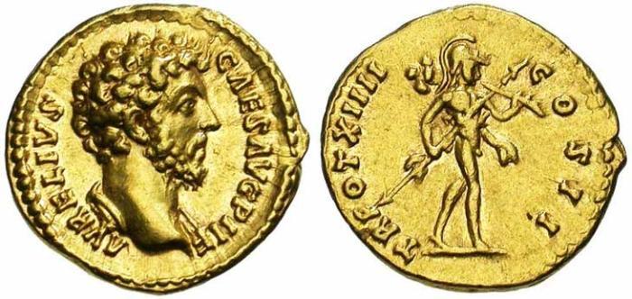 14 Aureus de Marc Aurèle revers Mars tenant un trophée