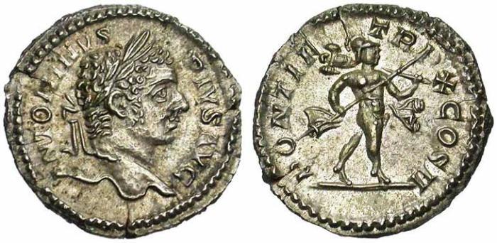 18 Denier de Caracalla revers Mars tenant un trophée