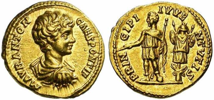 19 Aureus de Caracalla revers Caracalla face à un trophée