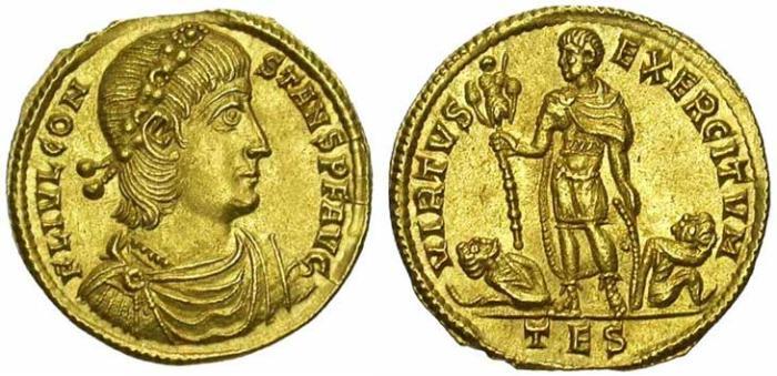 24 Solidus de Constant revers l'empereur tenant un trophée