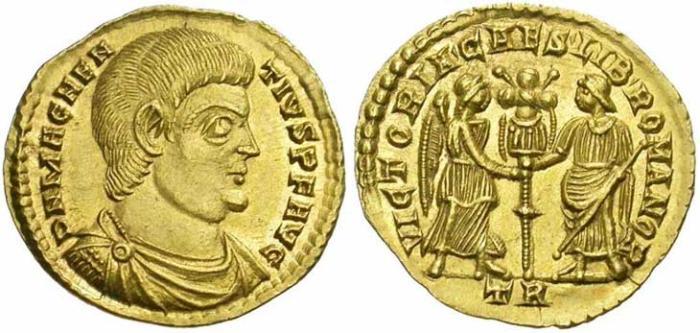 25 Solidus de Magnence revers Victoire et Liberté tenant un trophée