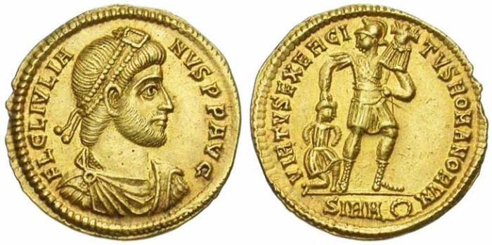 26 Solidus de Julien II revers soldat tenant un trophée