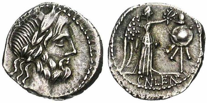 3 Quinaire de la république romaine revers trophée