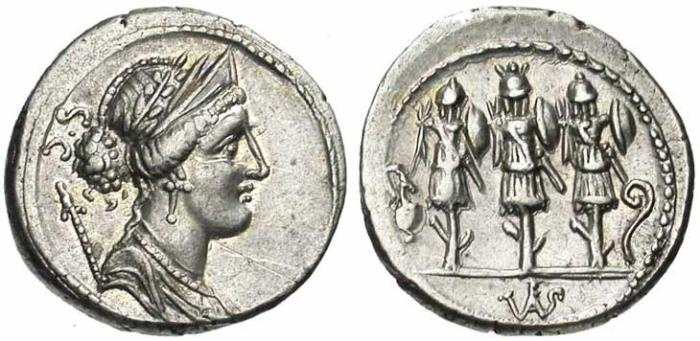 5 Denier de la république romaine revers 3 trophées