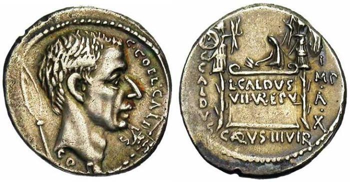 7 Denier de la république romaine trophée et bouclier