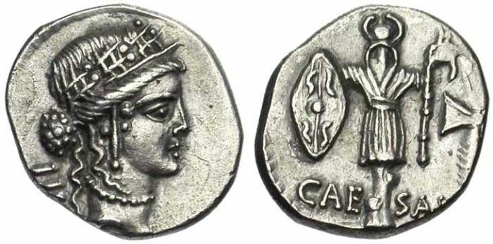 8 Denier de la république romaine trophée et bouclier gaulois