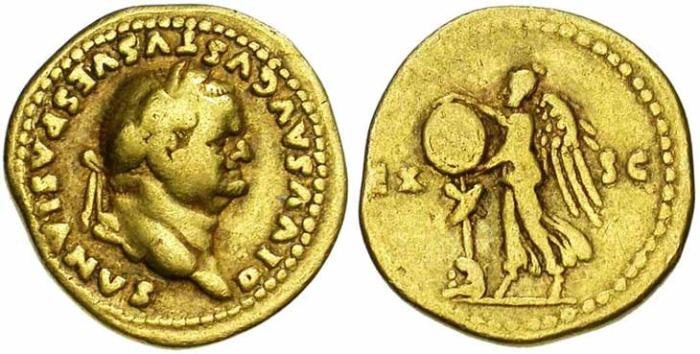 9 Aureus de Vespasien revers victoire et trophée
