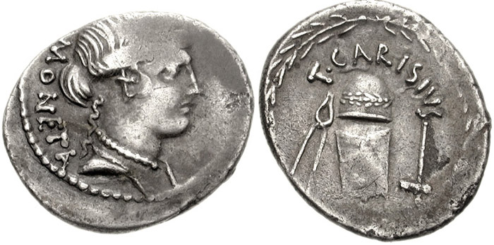 2. Coins monétaires représentés sur un denier de T Carisius (46 av JC)