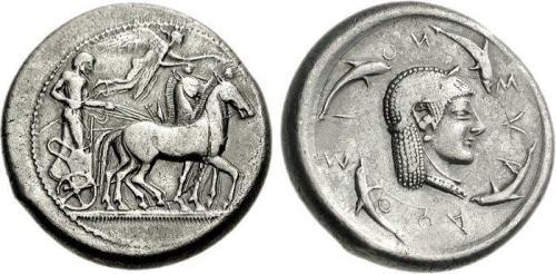 1 Image de dauphin sur une monnaie grecque de Syracuse
