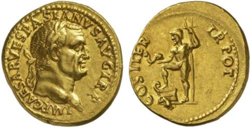 11 Image de dauphin sur une monnaie romaine de Vespasien