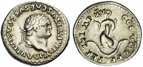 12 Image de dauphin sur une monnaie romaine de Titus
