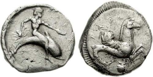 2 Image de dauphin sur une monnaie grecque de Tarente