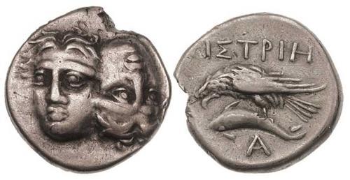 4 Image de dauphin sur une monnaie grecque d'Istros