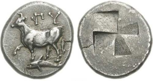 5 Image de dauphin sur une monnaie grecque de Byzance