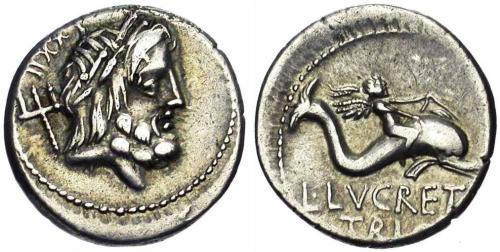 7 Image de dauphin sur une monnaie romaine de Lucretius Trio