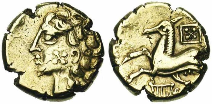 1. Gaule celtique, Arvernes, statère d'or, Type à la lyre