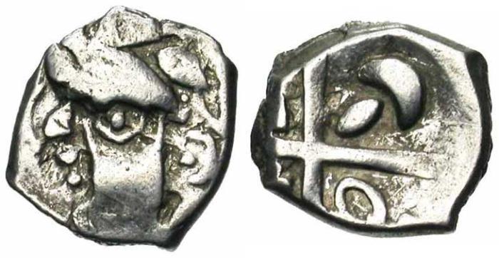 2. Gaule Narbonnaise, Tolosates, drachme à la tête cubiste