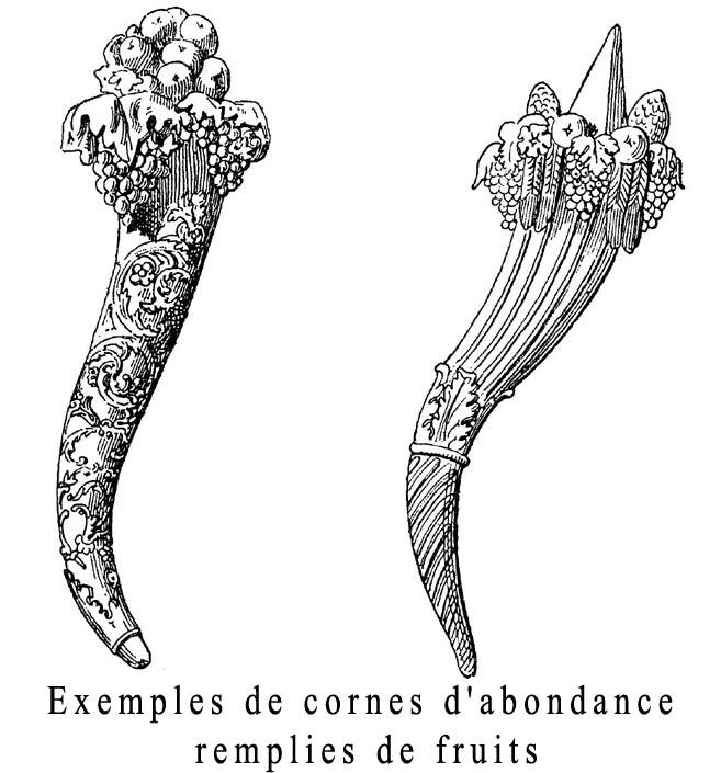 Exemples de cornes d'abondance remplies de fruits