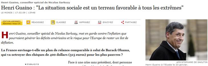 Le Journal le Monde a publié une interview d'Henri Guaino