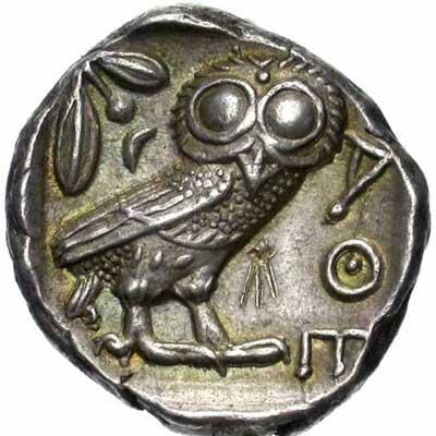 Revers d'un tétradrachme d'Athènes (monnaie à la chouette)
