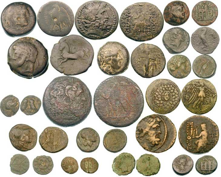 Exemples de monnaies grecques en bronze