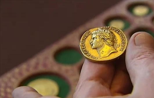 Photo d'un extraordinaire multiple d'or de l'empereur Gallien, une pièce inédite