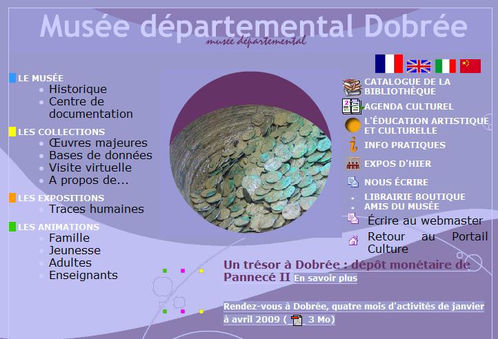 Capture d'écran du site web du Musée Dobrée