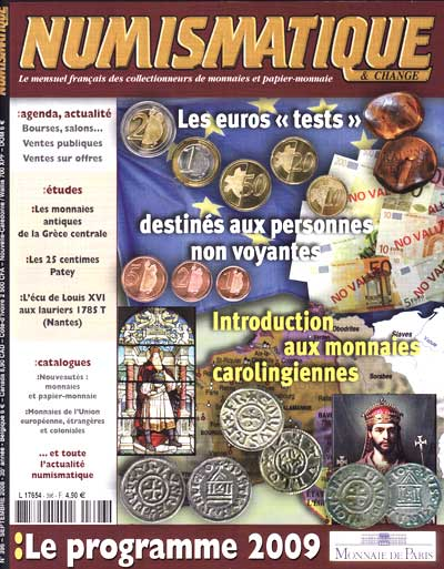 Couverture du Magazine Numismatique et Change n°396 (septembre 2008)