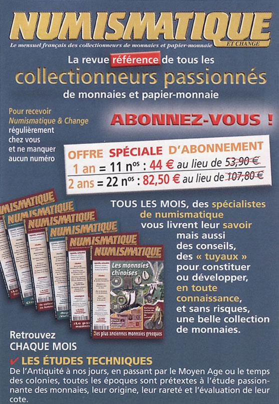 Bulletin d'abonnement à Numismatique et Change