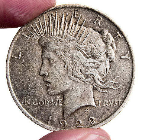 Photo du Peace dollar de 1921.