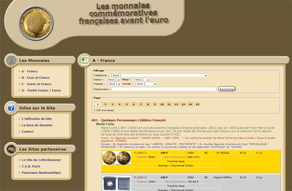 Image de la page d'accueil du site monnaies commémoratives françaises avant l'euro
