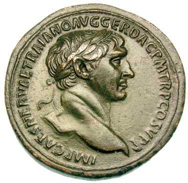 Portrait de Trajan sur un sesterce