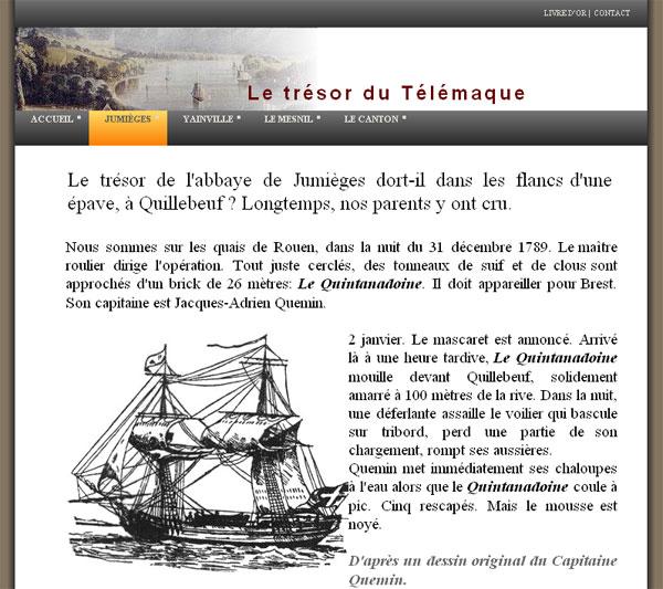 Site internet sur Le Trésor du Télémaque