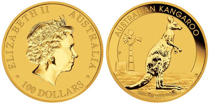 Pièce d'or de 2012 Australian Kangaroo 1 once d'or
