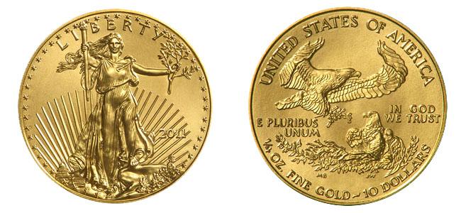 Exemple de pièces d'or d'investissement américaine