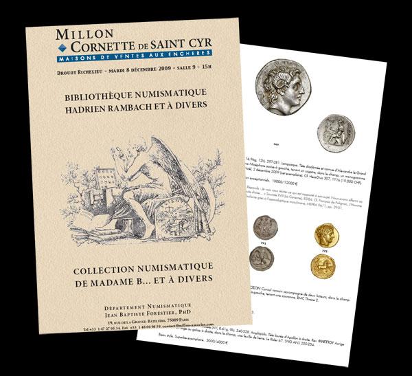Images du catalogue de la vente d'une bibliothèque numismatique