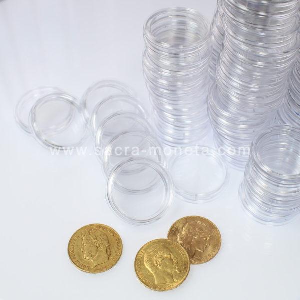 10 Capsules Plastique Rondes de Protection pour Pièces de 20 Francs Or