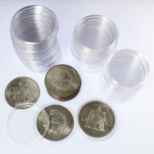Capsules Plastique Rondes de Protection pour Pièces de 50 Francs Hercule