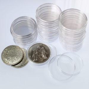 Capsules Plastique Rondes de Protection pour Pièces de 10 Francs Hercule diamètre 37 millimètres