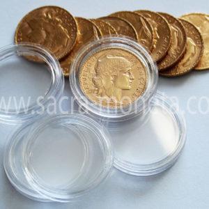 Capsules plastique rondes pour pièces de 20 francs or