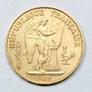 Pièce Or 20 Francs Génie 1891 A Avers