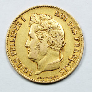 Pièce Or 40 Francs Louis Philippe 1836 A