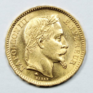 Pièce 20 francs Or Napoléon III tête laurée 1861 A
