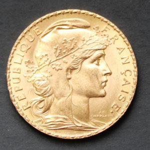 Pièce 20 francs Or Marianne Coq 1913