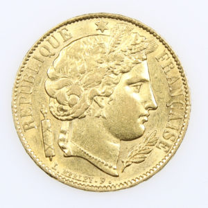 Pièce Or 20 Francs Cérès Année 1851 IIème République Atelier de Paris